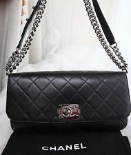 VERIFIED Authentic Chanel Quilted Leather Boy Accordion Flap Bag