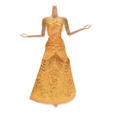 Beauty 1 Pc Yellow Fashion Wedding Gown Dress For Barbies Belle Princess Dolls