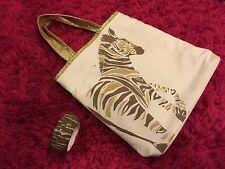 Gymboree Zebra Print Girls Bracelet & Bag Purse Glitter Disney Size 2 3 4 5 6 7