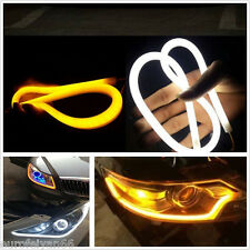 2 Pcs Dual Color White-Amber Car Soft Tube Switchback Headlight DRL Running Lamp