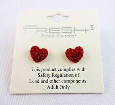 Puffy red heart post earrings crystals studs Fresh Valentine