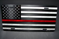 THIN RED LINE FIREFIGHTER METAL LICENSE PLATE TAG FOR CARS  WITH AMERICAN FLAG
