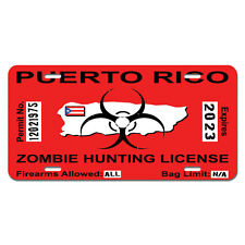 Puerto Rico Rican Zombie Hunting Permit Biohazard Response Team License Plate
