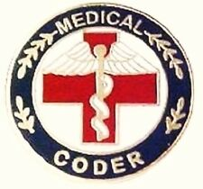 Medical Coder  Lapel Pin Professional Medical Red Cross Caduceus 116 New