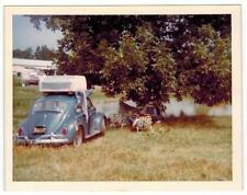Volkswagen VW Bug near Lake - Camping, Campers under tree in beach chairs Color