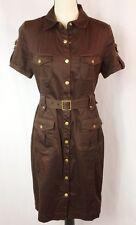Calvin Klein Safari Style Belted Snap Button Shirt Dress Size 10 Dark Brown