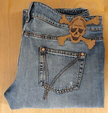 jeans FRANKIE MORELLO donna 31 TESCHIO skull MADE IN ITALY cotone DENIM shorts