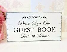 Personalised Wedding Guest Book Sign Shabby Vintage Free Standing Handmade