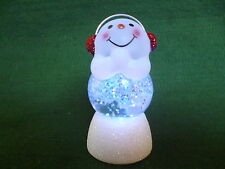 Hallmark Gift Bag Snowman with Earmuffs Snow Globe Glitter Changing Colors NEW