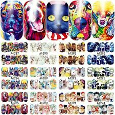 12 Sheets cute animals design water transfer nail art decoration stickers decals