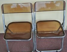 Pair Vintage Mid Century Modern Italian Chrome Lucite Folding Side Dining Chairs