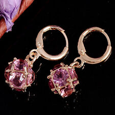 Elegant 18ct Gold Plated Sparkly Pink AAA Crystal CZ Dangle Drop Earrings -193P