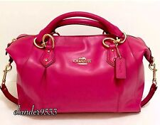 New COACH F33806 Colette Leather Satchel Shoulder Bag Purse Handbag Pink Ruby