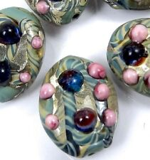 Lampwork Handmade Glass Blue Lace Oval Beads (5)