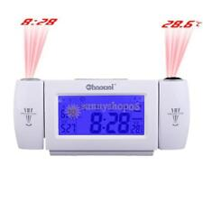 Voice Control Dual Projection LED Temperature Display Digital Alarm Clock New