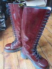 Dr Martens Vintage Cherry Red 20 Hole Eyelet Knee High Patent Leather Boots UK 4