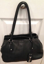 FOSSIL BLACK PEBBLED LEATHER CARGO SATCHEL 1954 2 HANDLES 3 SECTION ZB8072