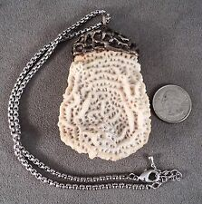 """Vtg MidCentury 3.5"""" Big White Coral in Sterling Silver Brutalist Setting +Chain"""