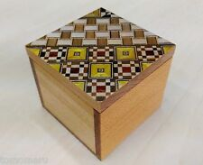 Japanese wood mosaic Yosegi Kobako Small Cube Box Hakone handmade-Brand NEW
