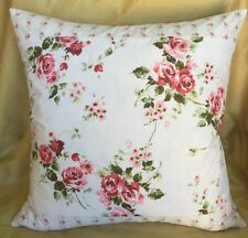 NEW Shabby Chic Rachel Ashwell Floral Roses &Stripe Pink fabric pillow cover 20""