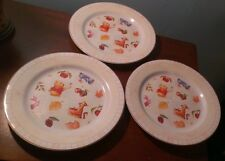 Disney China  (3) Winnie The Pooh Dinner Plates  (Red Grid Border)