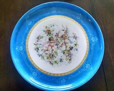 ANTIQUE PORCELAIN, LRG PLATTER CHARGER PLATE GILDED w/ HAND PAINTED CHERUBS