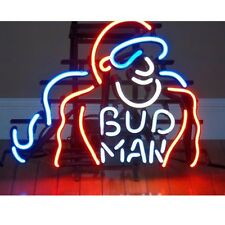 "Bud Man Glass Neon light Sign Beer Bar Store Garage Party Club Display 17""x14"""
