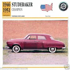 STUDEBAKER CHAMPION 1946 1951 CAR VOITURE USA ETATS-UNIS CARTE CARD FICHE