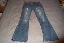 American Eagle AE Outfitters Blue Jeans size 6 Long Distressed Paint Stains