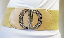 WOMEN WAIST ELASTIC GOLD WIDE DESINER BELT WITH RHINSTONES BUCKLE S M L