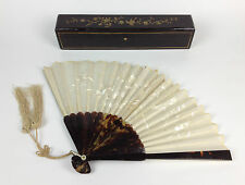 Fine 19th Century Antique Chinese Silk Hand Fan- Boxed Gilt Laquer Qing Dynasty