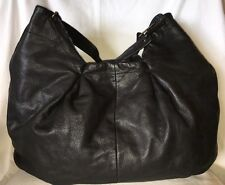 GAP Extra Large Black Leather Hobo Tote Bag Purse Handbag-NEAR MINT