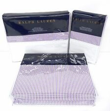 RALPH LAUREN Great Compton QUEEN SHEET SET 4pc NWT White Purple Stripe FAIRVIEW