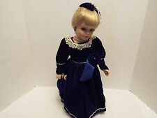 """Porcelain 17 """" Doll Long Blonde Braided Hair With Stand"""