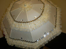 """HERE COMES THE BRIDE- HEARTS/DIAMONDS 24"""" IVORY ORGANZA  SEQUIN IVORY PARASOL"""