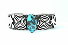 Native American Navajo Indian Jewelry SS Petroglyph Turqu. Bracelet Alex Sanchez