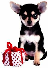 "6"" PUPPY DOG CHIHUAHUA VALENTINE ROSE SET HOLIDAY  WINDOW CLING DECAL CUT OUT"