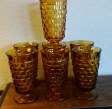 7 Vintage Indiana Glass Whitehall Amber Gold Tea Water Footed Goblets Tumblers