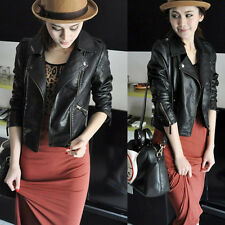 Womens Synthetic Leather Jacket Short Slim Coat Motorcycle Black Size M