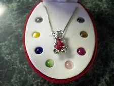 Sterling Silver Panda Bear Necklace + 9 interchangeable natural colored stones