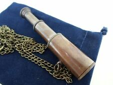 "Antique Finish Brass Telescope w/ 30"" Chain & Velour Bag ~ Nautical Necklace"