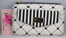 Luv BETSEY JOHNSON POUCH PACKET TOP ZIP Black White Hearts NWT LBFLAPPY