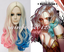 """20"""" Blonde Pink Blue Mixed For Batman Suicide Squad Harley Quinn  Cosplay Wig"""