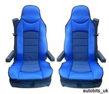 BLUE PREMIUM PADDED SEAT COVERS SET OF 2 CUSHION FOR DAF CF LF XF105 XF 105 95