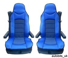 BLUE PREMIUM PADDED SEAT COVERS SET OF 2 CUSHION FOR MERCEDES AXOR ATEGO ACTROS
