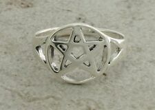 HIGH POLISHED .925 STERLING SILVER WICCAN PENTACLE RING size 8  style# r1760