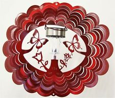 BUTTERFLY SOLAR LIGHT WIND SPINNER Red, Stainless Steel, made in USA!