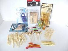 Lot Party Forks Swords Toothpicks Party Picks Plastic Wood Oriental Some Vintage