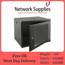 "12U 450mm 19"" Black Wall Cabinet Network Data Rack Patch Panel, PDU & LAN Switch"