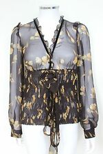 DOLCE & GABBANA Floral Sheer Blouse Silk Shirt top 40 uk 8